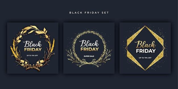Conjunto dorado de banner de viernes negro