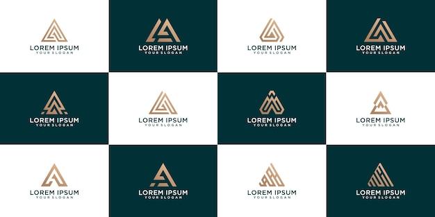 Conjunto dorado de diseño creativo de letra a para empresas