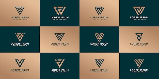 Conjunto dorado de diseño creativo de letra v para empresas
