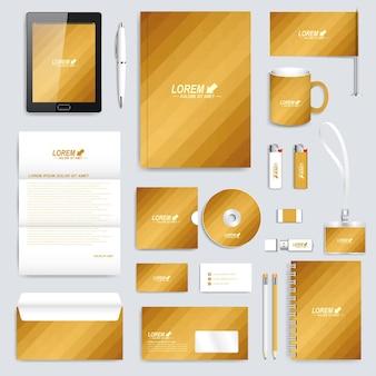 Conjunto dorado de fondo de maqueta de papelería de negocios moderno plantilla de identidad corporativa de vector con g ...