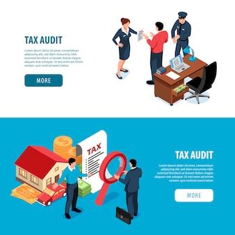 Conjunto de dos banners de auditoría fiscal isométrica.