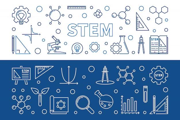 Conjunto de dos banners lineales de concepto de vector stem