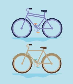 Conjunto de dos bicicletas sobre un fondo azul.