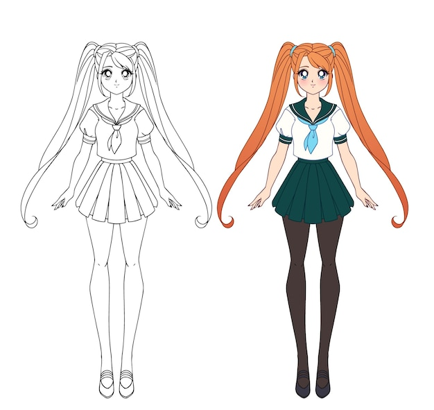 Conjunto de dos chicas anime. chicas lindas con ojos grandes y con uniforme escolar japonés. versiones de libro para colorear de contorno y plano.