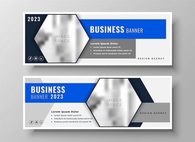 Conjunto de dos diseño de banner de negocios geométrico