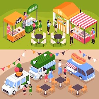Conjunto de dos ilustraciones isométricas de puestos de comida horizontales