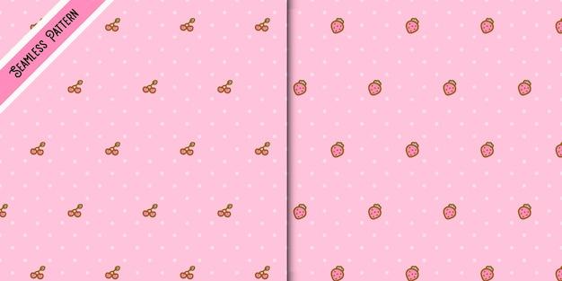 Conjunto de dos lindos patrones sin fisuras de fresas y cerezas.