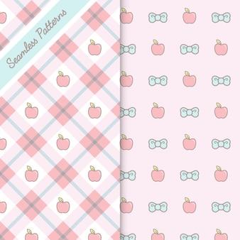Conjunto de dos lindos patrones sin fisuras kawaii vector premium