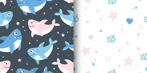 Un conjunto de dos lindos patrones sin fisuras con tiburones y objetos marinos.