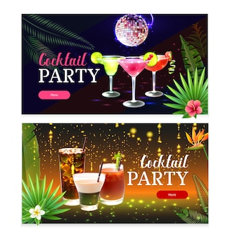 Conjunto de dos pancartas de cóctel de fiesta horizontales