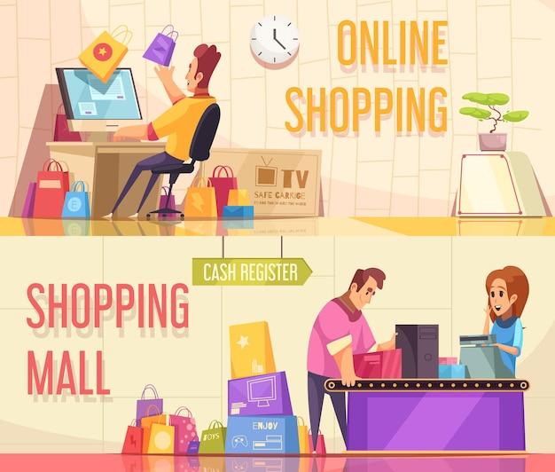 Conjunto de dos pancartas horizontales para adictos a las compras con composiciones de dibujos animados de personajes de personas y productos con texto