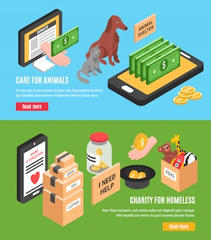 Conjunto de dos pancartas horizontales de caridad para el cuidado de animales y caridad para personas sin hogar