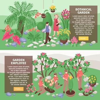 Conjunto de dos pancartas horizontales isométricas del jardín botánico con cuadros de descripción de texto ys de jardineros