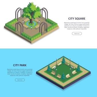 Conjunto de dos pancartas horizontales isométricas del parque de la ciudad con texto de botones e imágenes con jardines públicos
