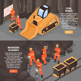 Conjunto de dos pancartas horizontales con más texto editable de botón e imágenes de ilustración de maquinaria minera