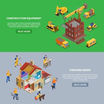 Conjunto de dos pancartas isométricas de construcción con más texto de botón y composiciones de imágenes relacionadas con la construcción ilustración vectorial