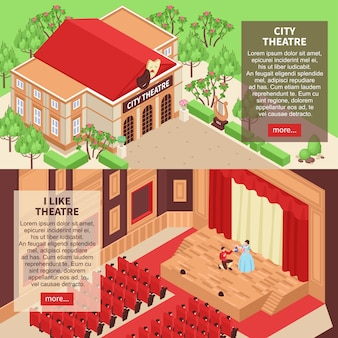 Conjunto de dos pancartas isométricas horizontales con edificio de teatro de la ciudad y actores en el escenario 3d aislado