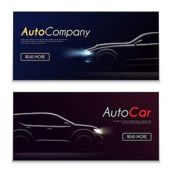 Conjunto de dos pancartas oscuras horizontales de perfil realista de coche con botones editables texto e imágenes de automóviles ilustración vectorial