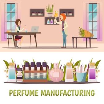Conjunto de dos pancartas de perfumería de color horizontal con fabricación de perfumes y producto terminado.