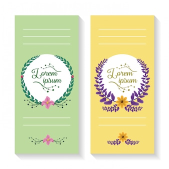 Conjunto de dos pancartas verticales con corona de laurel y adornos de follaje, verde y amarillo.