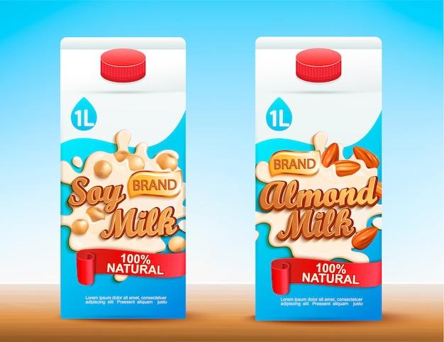 Conjunto de dos paquetes de leche tetra con diferentes gustos.