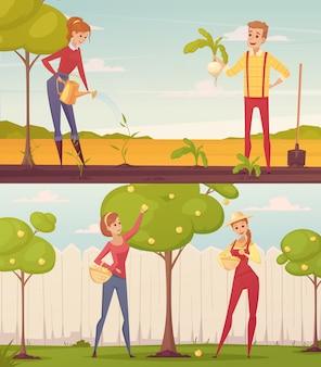 Conjunto de dos personas coloridas de la gente de la historieta del granjero del jardinero rectangular