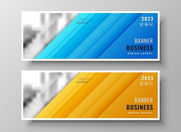 Conjunto de dos portadas o encabezados de facebook de negocios amplios y modernos