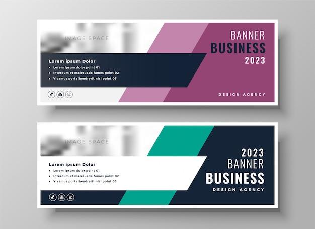 Conjunto de dos presentaciones de banner de negocios geométricos