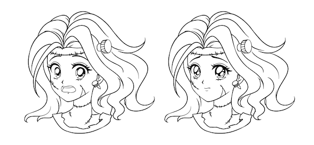 Conjunto de dos retratos de niña zombie manga lindo. dos expresiones diferentes. ilustración de contorno dibujado a mano de estilo anime retro. arte de línea negra sobre fondo blanco.