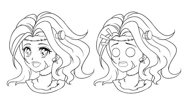 Conjunto de dos retratos de niña zombie manga lindo. dos expresiones diferentes.