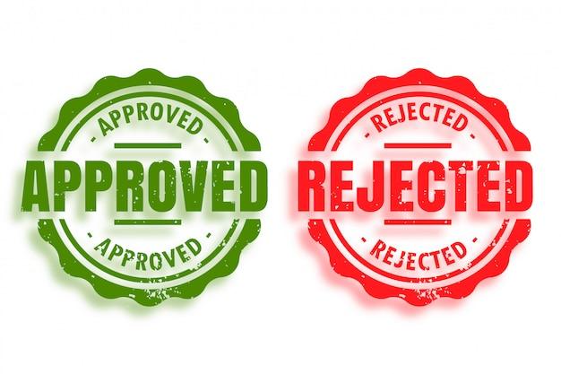 Conjunto de dos sellos de goma aprobados y rechazados