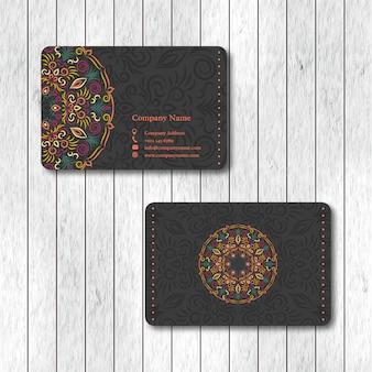 Conjunto de dos tarjetas de mandala floral ornamental.