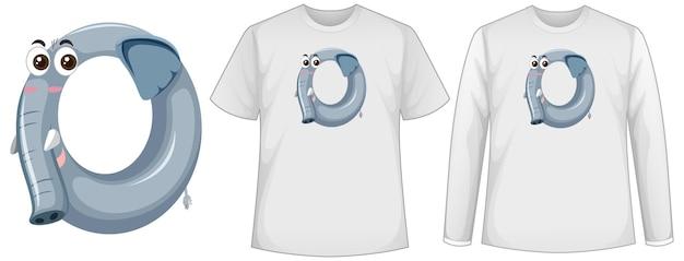 Conjunto de dos tipos de camisa con elefante en forma de número cero en la pantalla de las camisetas