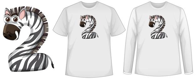 Conjunto de dos tipos de camiseta con cebra en la pantalla de forma número dos en camisetas
