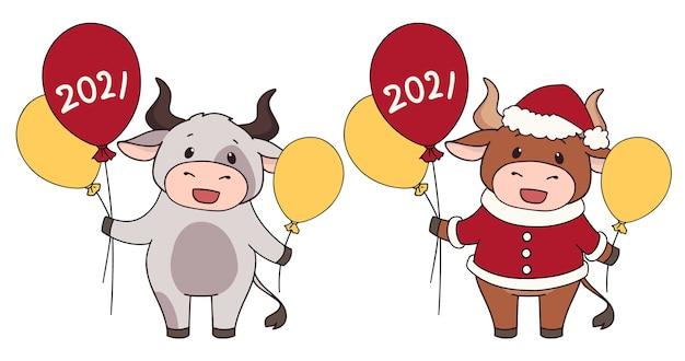 Conjunto de dos vacas de dibujos animados con traje de navidad y sosteniendo globos.