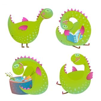 Conjunto de dragones divertidos dibujos animados