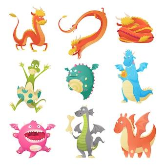 Conjunto de dragones lindos dibujos animados