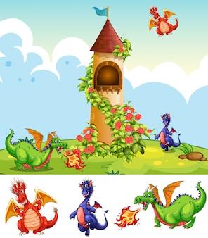 Conjunto de dragones en el paisaje del castillo
