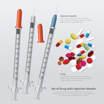 Conjunto de drogas con agujas de inyección realista ilustración vectorial