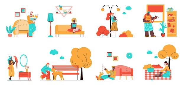 Conjunto de dueños de mascotas con conjunto de ilustración de animales