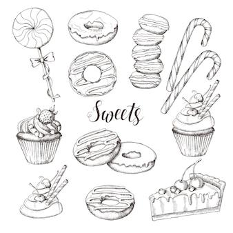 Conjunto dulce de caramelos, piruletas, macarrones, donas, pasteles y cupcakes aislados en blanco. dibujado a mano, boceto.