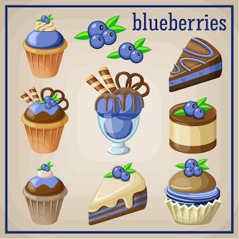 Conjunto de dulces con arándanos. ilustración vectorial