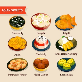 Conjunto de dulces asiáticos