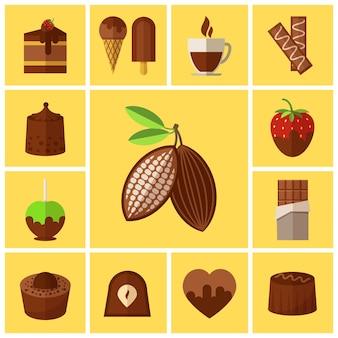 Conjunto de dulces de chocolate, tortas y granos de cacao.