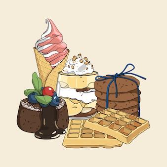 Conjunto de dulces de colores dibujados a mano con isoletas.