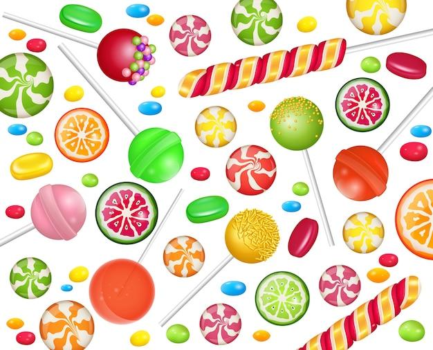 Conjunto de dulces coloridos: caramelos duros, bastones de caramelo, jaleas.