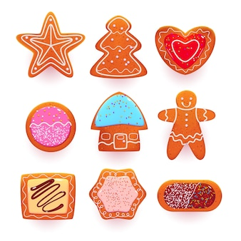 Conjunto de dulces de dibujos animados de galletas de jengibre