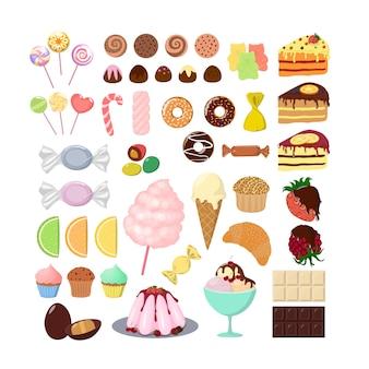 Conjunto de dulces diferentes. pastel y muffins, dulces y piruletas.