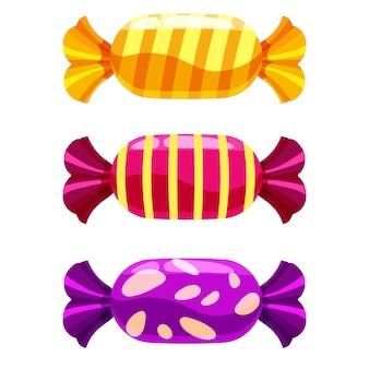 Conjunto de dulces dulces en blanco. ilustración