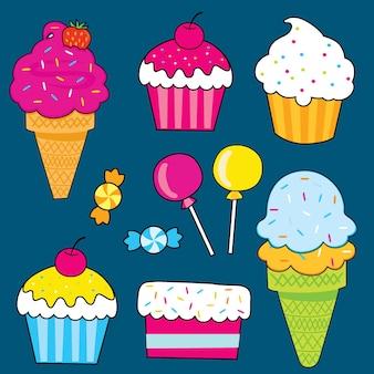 Conjunto de dulces dulces dibujados a mano